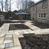 Yorkshire garden paving riven stone, reclaimed to look established in traditional garden