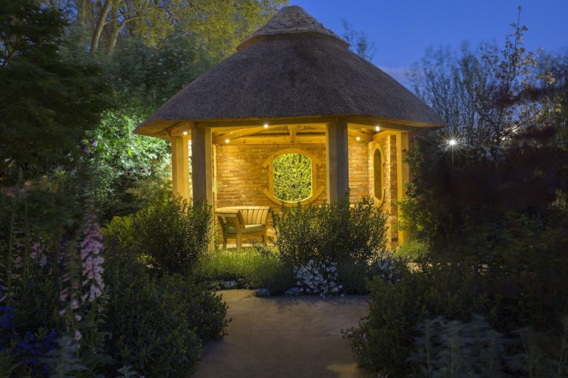 outdoor garden lights in summerhouse