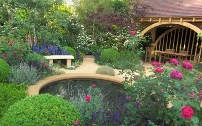 commercial landscaping, pond, oak frame summerhouse, garden furniture, hard landscaping and planting