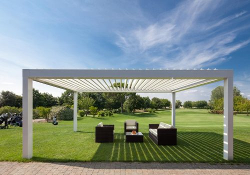 bioclimatic pergola made from aluminium in contemporary style and design