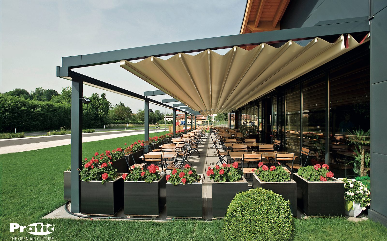 Restaurant pergola retractable roof partially open