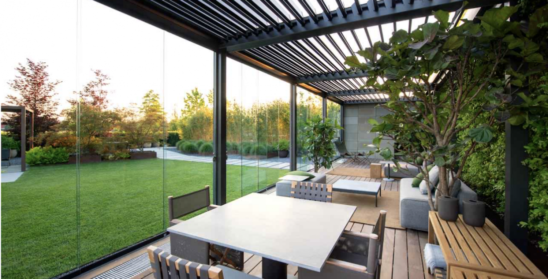 garden building pergola structure with roof and glass