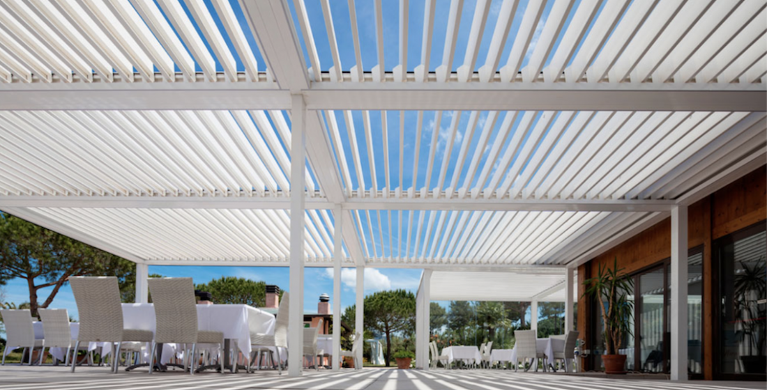 pergola cover and shelter for contemporary restaurant
