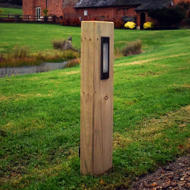 Radiata Timber Pine Sleeper Bollard With 240v Frosted