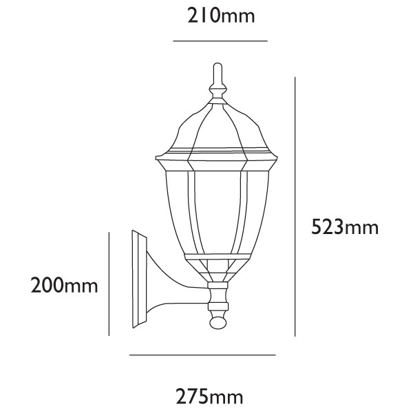 Turpin Traditional Wall Lantern With 9w Led Photocell Bulb