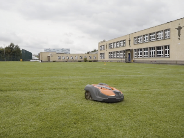 robotic lawnmower at school college sports pitches